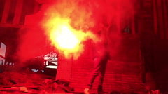 Red hand flare. distress signal Stock Footage