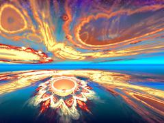 Mysterious alien sunset view in the mysterious world inhabited. Fractal art Stock Illustration