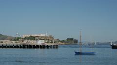 Aquatic Park and Alcatraz Island in San Francisco - stock footage