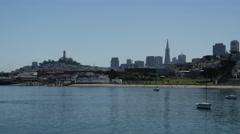 Aquatic Park and the San Francisco skyline Stock Footage