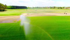Overflight irrigation field rainbow Stock Footage