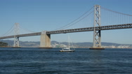 Stock Video Footage of Sailboat at the Oakland Bay Bridge in San Francisco