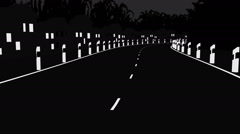 Road in Black and white color Stock Footage