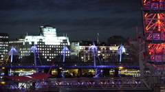 The Golden Jubilee Bridge and Millennium Pier Stock Footage