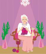 Senior woman knitting Stock Illustration