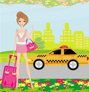 elegant woman waiting for a taxi - stock illustration