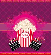 Pop corn with clapper board, cinema. abstract card Stock Illustration