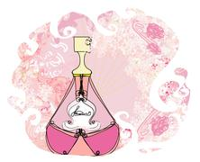 Bottle of perfume with a floral aroma Stock Illustration
