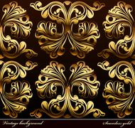 Seamless background Medieval Ornament gold Stock Illustration