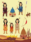 Stock Illustration of Cartoon characters indian, wild west collection