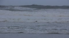 Stormy Ocean Sea with Crashing Waves and Cyclone Hurricane Winds - stock footage
