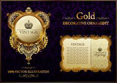 gold vitnage decorative ornament - stock illustration