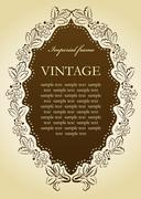Floral vintage Vignette frame - stock illustration