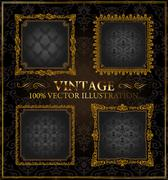 Vector vintage Gold frames ornament label - stock illustration