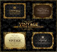 Vector vintage Gold frames decor label - stock illustration