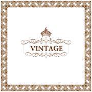 Vector vintage decor frame ornament floral Stock Illustration