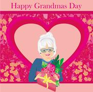 senior woman with a bunch of flowers ,Happy Grandmas Day - stock illustration
