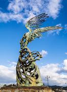 Nike  Carmelo Mendola statue, Giardini Naxos, Sicily, Italy - stock photo