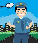 Night Patrol Police Stock Illustration