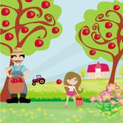 Stock Illustration of farmer and his daughter in the orchard