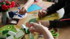 Children painting in play room, art class Stock Footage