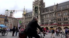 ULTRA HD 4K Timelapse people walk Marys public Square Munich landmark icon day   Stock Footage
