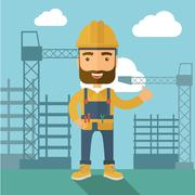 Man standing infront of construction crane tower - stock illustration