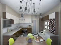 3d illustration of modern kitchen in brown and beige tones Stock Illustration
