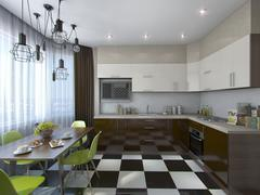 3d illustration of modern kitchen in brown and beige tones - stock illustration