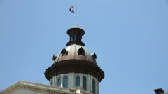 South Carolina Flag And American Flag At The State Capitol Building Stock Footage