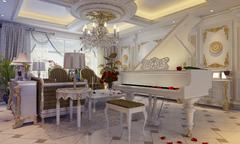 3D illustration of a drawing room in classical style with a grand piano - stock illustration