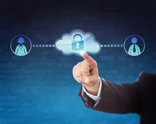 Touching Locked Cloud Linked To Two Office Workers - stock photo