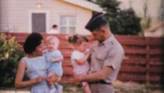 Military Family Posing With Their Children-1964 Vintage 8mm film - stock footage