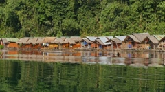 Floating Bungalows of Koh Sok National Park Stock Footage