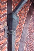 red brick wall with shod decor - stock photo