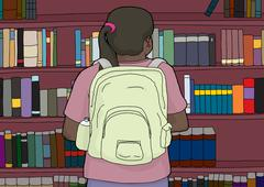 Rear View of Hispanic Student at Bookshelf - stock illustration