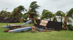 Cyclone aftermath - stock footage