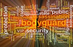 Bodyguard background concept glowing - stock illustration