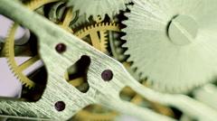 Macro view of vintage watch mechanism Stock Footage