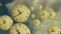 Passing time clock face age future hour present season pace late schedule aging Stock Footage