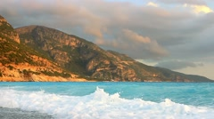 Beautiful blue turquoise waves Mediterranean sea water foam Stock Footage