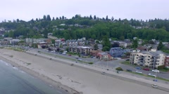 Alki beach in Seattle at peaceful early mourning hour - stock footage