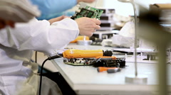 Building Circuit Boards in Electronics Factory Stock Footage
