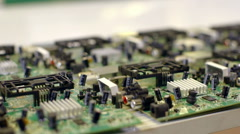 Factory assembly line production of PCBs Stock Footage