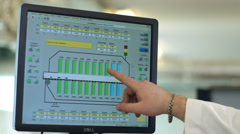 Hand presenting financial graph on monitor screen Stock Footage