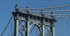 4K - Vertical Pan from Manhattan Bridge to Iconic Empire State Building Stock Footage