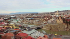 Panoramic View of Narikhala fortress in the old city of Tbilisi. Georgia Stock Footage