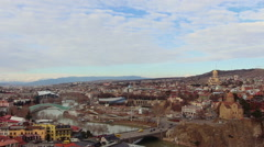 Medieval castle of Narikala and Tbilisi city overview Stock Footage