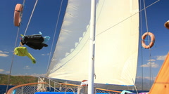 Upper deck of Turkish design Gulet yacht sailing during Blue Cruise Tour Stock Footage
