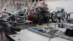 Motor Bike Repair Shop Stock Footage